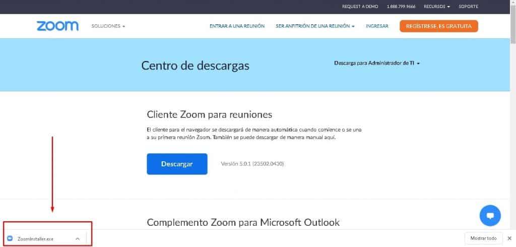 """descargar Zoom gratis en español e instalar el archivo """"ZoomInstaller"""""""
