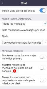 Configuración opciones del Chat de Zoom para Android