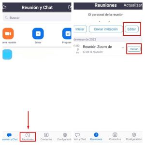 Editar reunión programada en Zoom Android