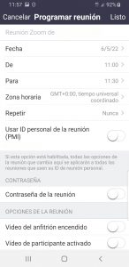 Programar reunión Zoom en Android