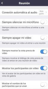 Opciones de configuración para Reuniones en Android