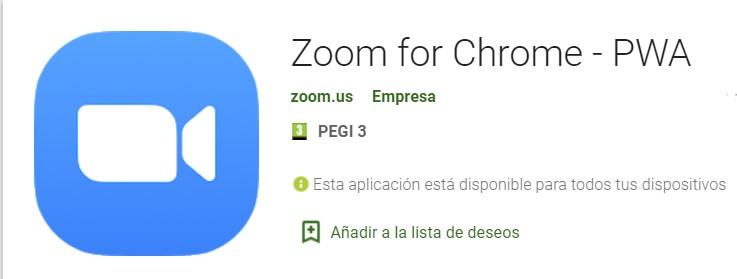 Zoom para Chrome PWA
